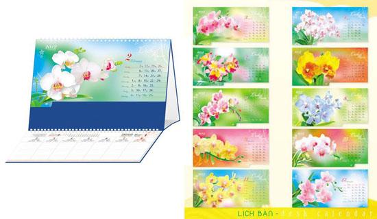 Bộ lịch để bàn Hoa Lan