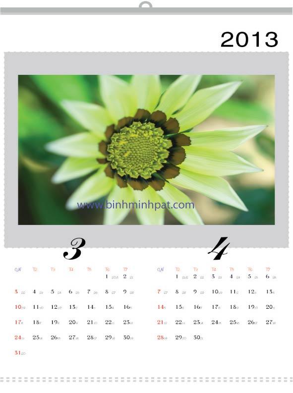 lịch tết 2013 về hoa