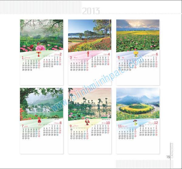 lịch 7 tờ với chủ đề - phong cảnh việt Nam