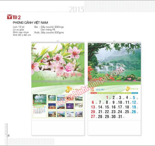 Bộ lịch 13 tờ mang chủ đề - phong cảnh Việt Nam