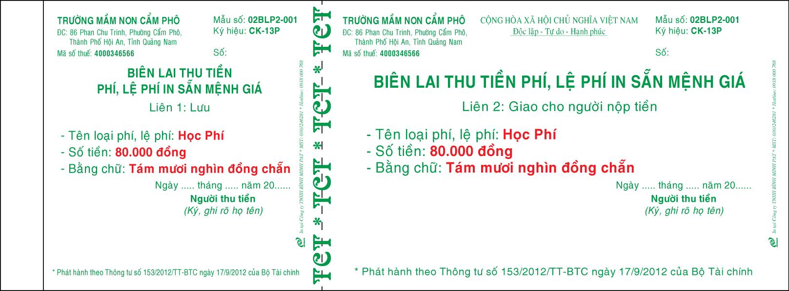 In Biên lai thu học phí tại Biên Hòa