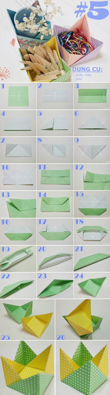 Mẹo gấp giấy thành các kiểu hộp đựng đồ hữu ích -(p2)