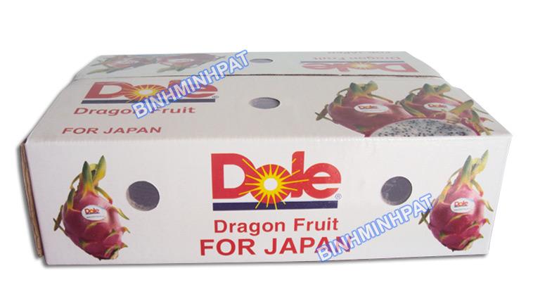 thùng carton đựng trái cây thanh long xuất khẩu