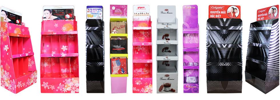 các sản phẩm kệ giấy trưng bày bắt mắt của công ty Bình Minh PAT