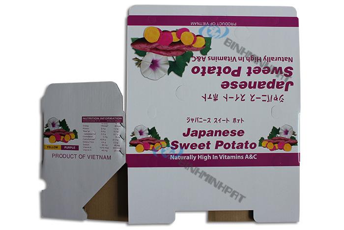 In thùng carton đựng khoai lang xuất khẩu