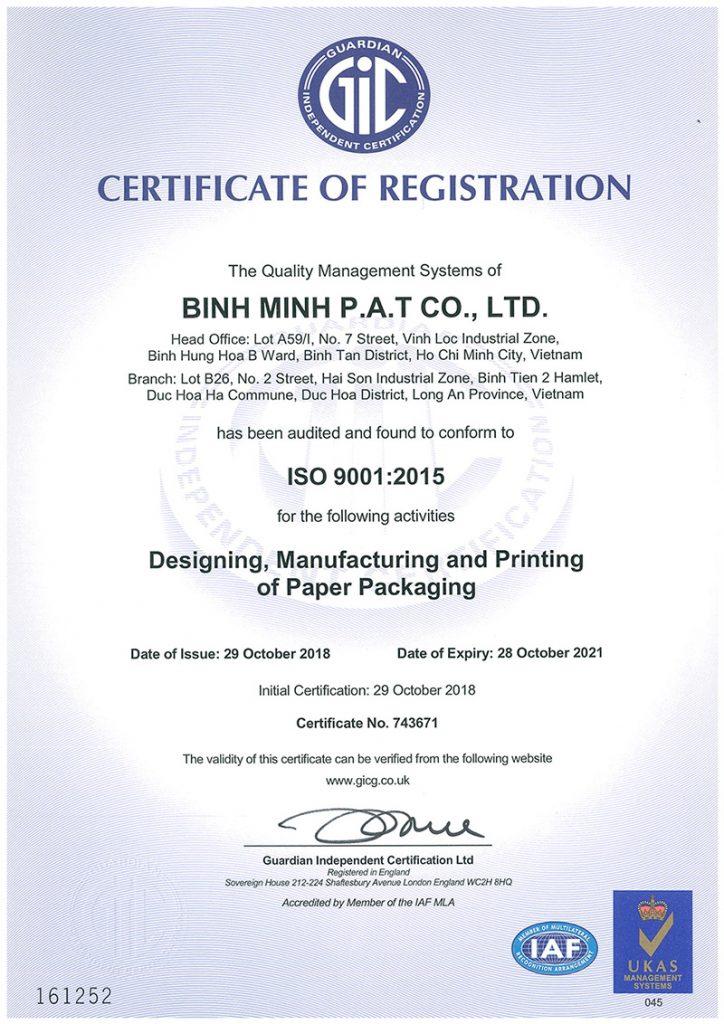 Giấy chứng chỉ ISO 9001:2015