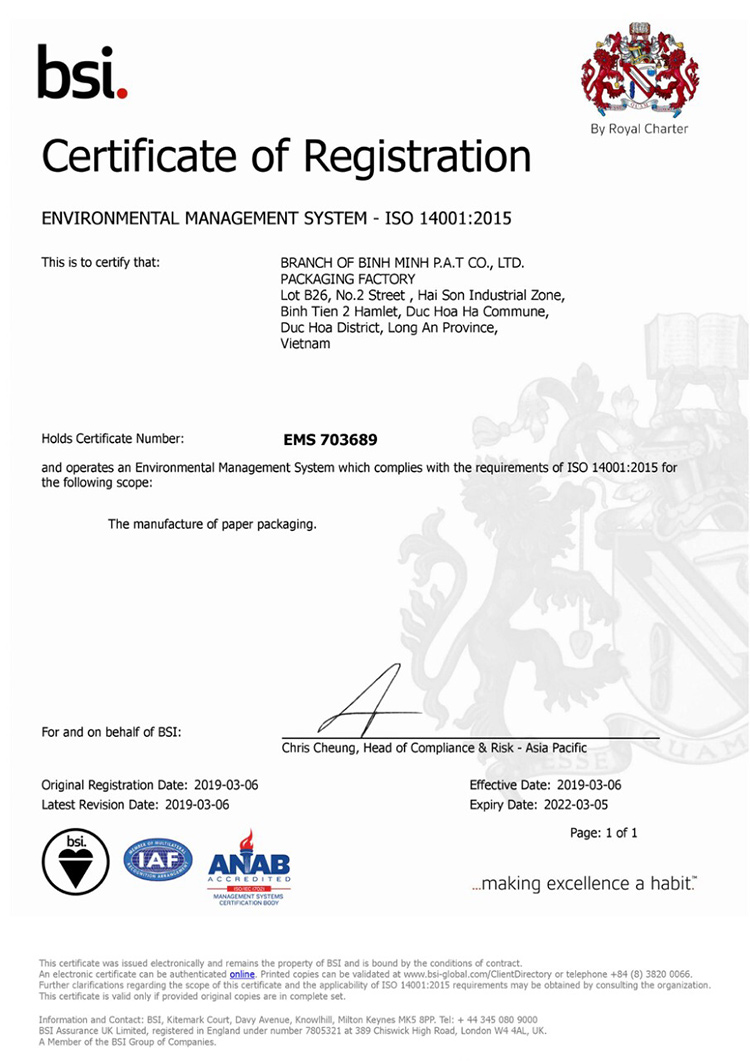 chứng chỉ ISO 14001
